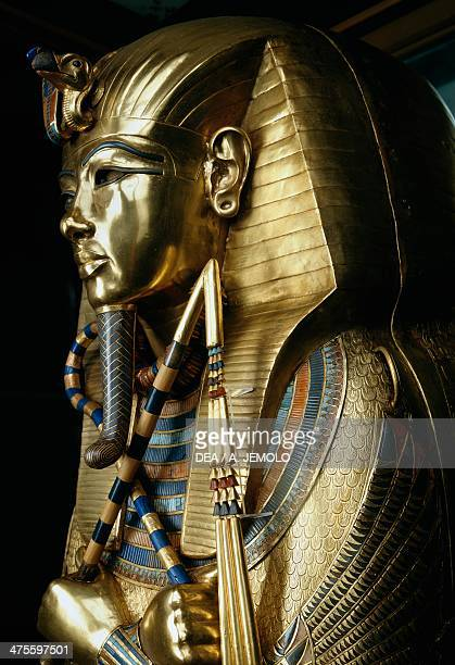 Inner sarcophagus of Tutankhamun decorated with gold and precious stones, from the Tomb of Tutankhamun. Egyptian civilisation, New Kingdom, Dynasty...
