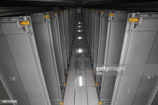 Inner view of fortyfivemeter high Parking Tower on Qinling Road on July 9 2015 in Zhengzhou Henan Province of China The Parking Tower includs 24...