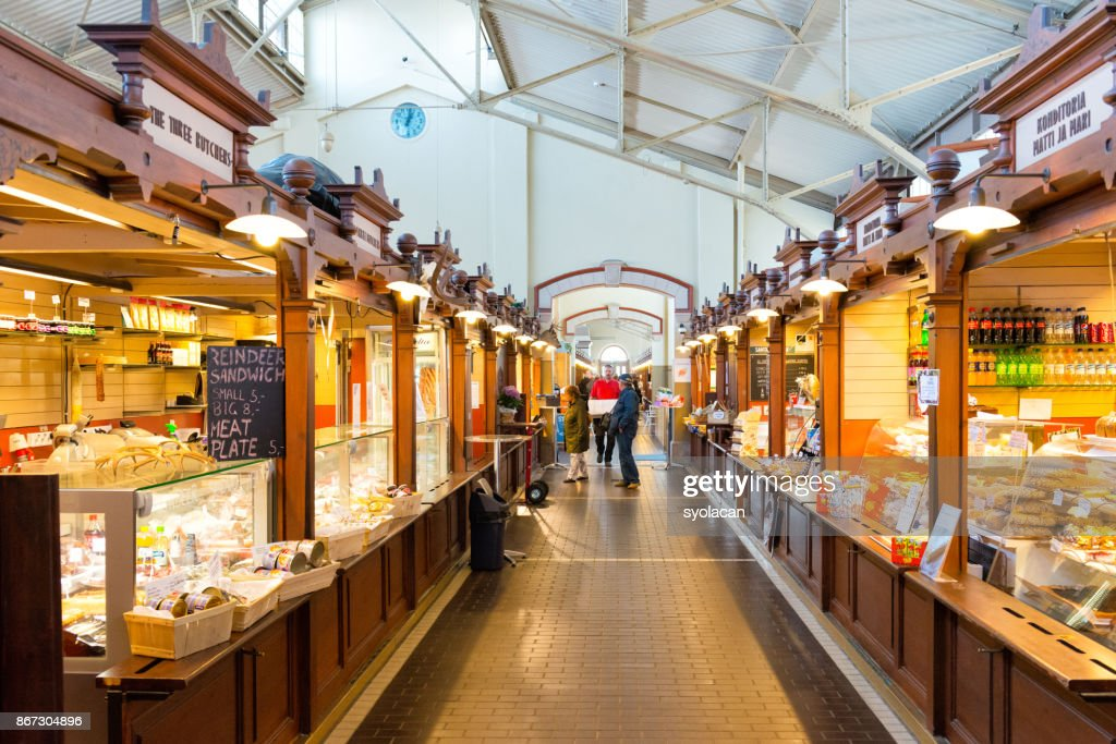 Inner view of the old market Kauppatori in Helsinki : Stock Photo