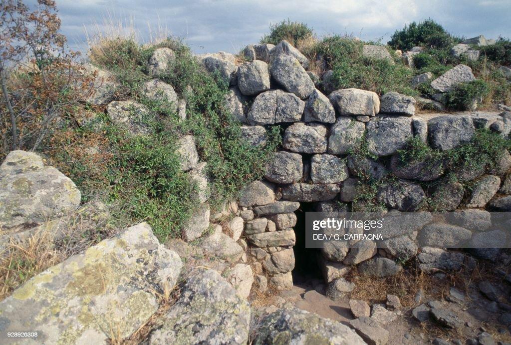Inner yard gate of Nuraghe Majori, Sardinia : News Photo