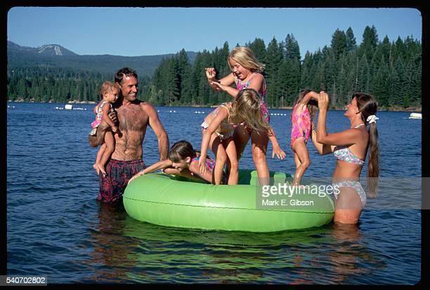 innertubing on lake siskiyou - siskiyou stock pictures, royalty-free photos & images