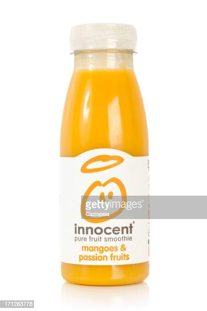innocent pure smoothie mango & passion fruit - innocence stock pictures, royalty-free photos & images