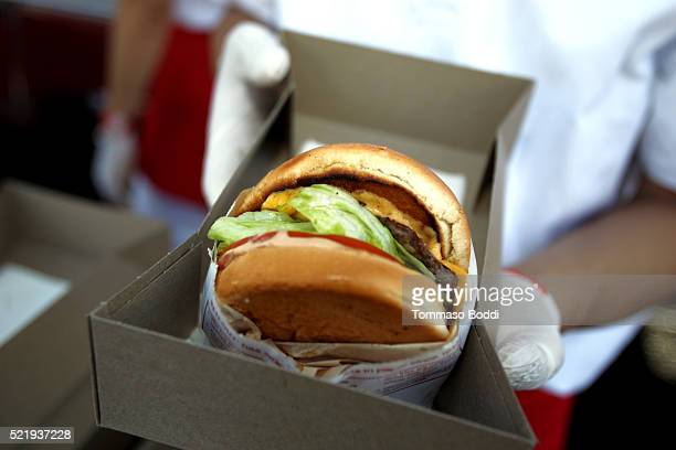 InNOut Burgers are served at the John Varvatos 13th Annual Stuart House benefit presented by Chrysler with Kids' Tent by Hasbro Studios at John...