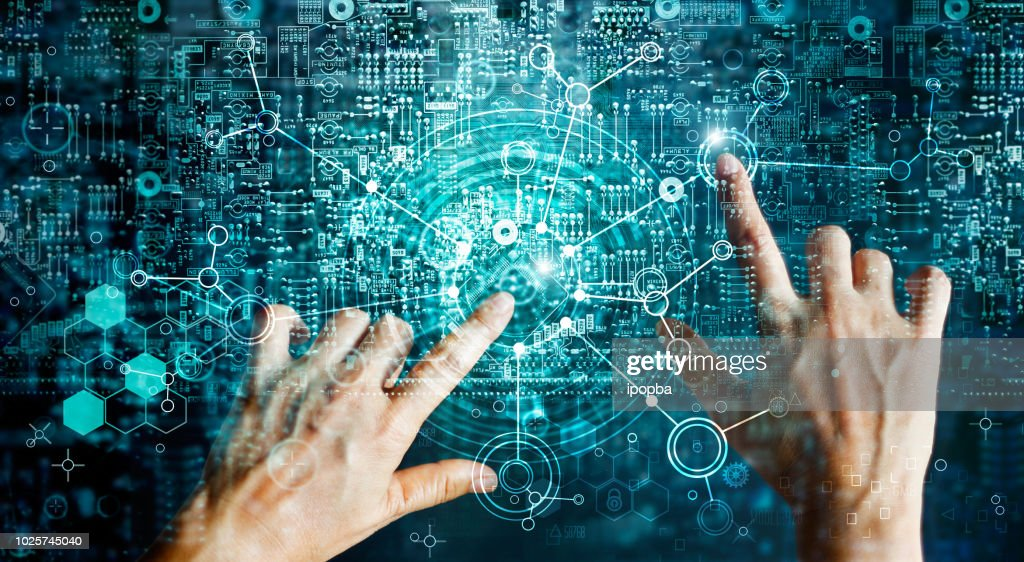 Innovations systems connecting people and intelligence devices. Futuristic technology networking and data exchanges connection and computer industry from telecommunication and internet development. : Stock Photo