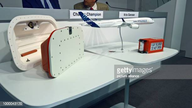 Innovative blackboxes from L3 and Leonardo DRS lie on a table the Airbus' stand at the Aerial Travel Fair in Le Bourget near Paris France 21 June...