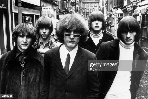 Innovative Californian folkpoprock combo The Byrds in London for their British tour They are David Crosby Chris Hillman Jim McGuinn Michael Clarke...