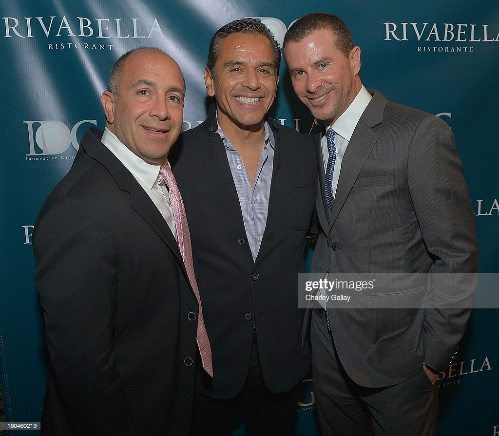 Innovative Dining Group partner Phillip Cummins, Los Angeles Mayor Antonio Villaraigosa and Innovative Dining Group Partner Lee Maen attend the Grand Opening of RivaBella Ristorante on January 31, 2013 in West Hollywood, California.