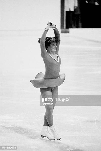 Innsbruck, Austria: America's Dorothy Hamill of Chicago, Illinois, has look of confidence during women's Olympic free skating 2/13 on her way to a...