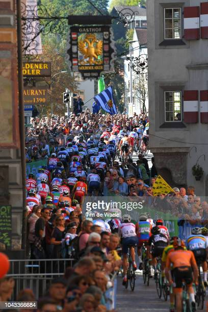 Innsbruck City / Landscape / Peloton / Fans / Public / during the Men Elite Road Race a 258,5km race from Kufstein to Innsbruck 582m at the 91st UCI...