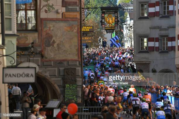 Innsbruck City / Landscape / Peloton / Fans / Public / during the Men Elite Road Race a 2585km race from Kufstein to Innsbruck 582m at the 91st UCI...