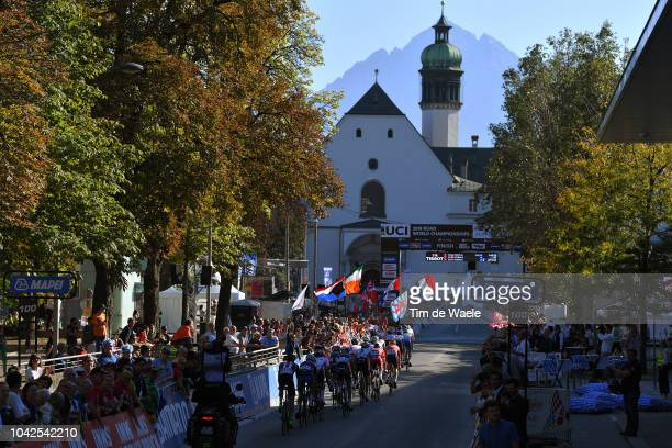 Innsbruck City Tower / Peloton / Finish line / Fans / Public / Landscape / during the Men Under 23 Road Race a 1799km race from Kufstein to Innsbruck...