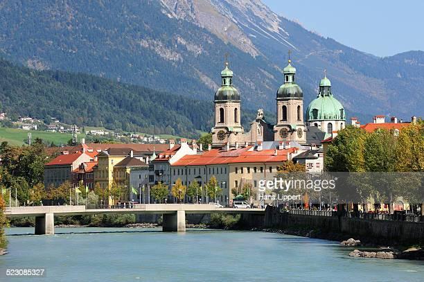 Innsbruck, St. James Cathedral, River Inn, Karwendel Mountains, Tyrol, Austria, Europe, PublicGround
