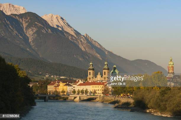 innsbruck with inn river - innsbruck stock pictures, royalty-free photos & images