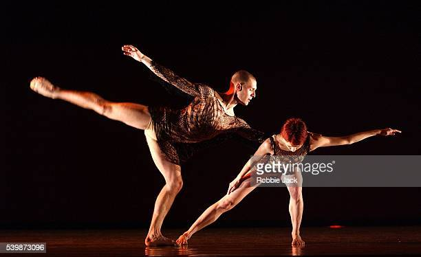 """Ino Riga and Jonathan Goddard in the Richard Alston Dance Company production """"Shimmer"""" at Sadlers Wells Theatre London. Robbie Jack/Corbis"""