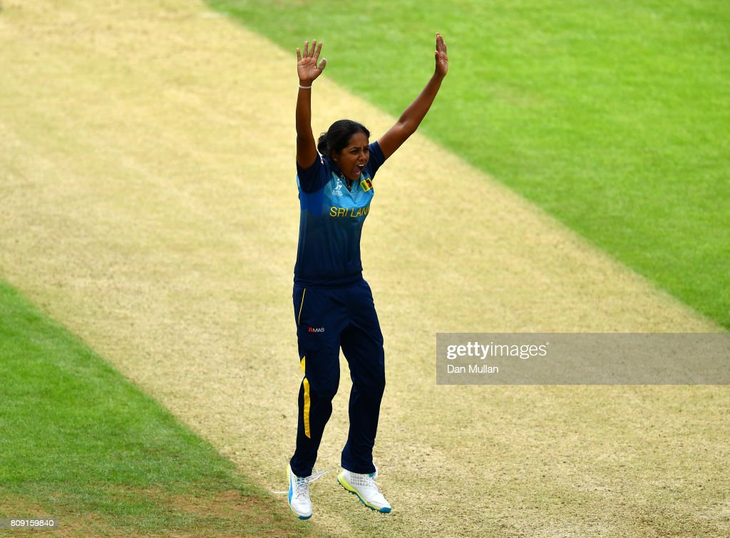 Inoka Ranaweera of Sri Lanka appeals successfully for the wicket of Mithali Raj of India during the ICC Women's World Cup 2017 match between Sri Lanka and India at The 3aaa County Ground on July 5, 2017 in Derby, England.