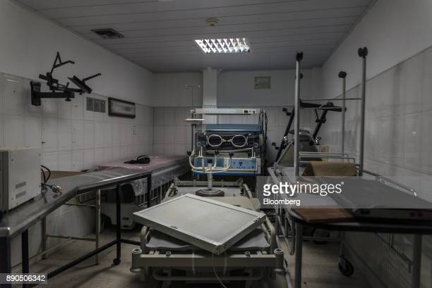 Inoperative medical machines sit unable to be repaired due to a lack of spare parts in a room of a women's public hospital in Barcelona Venezuela on...