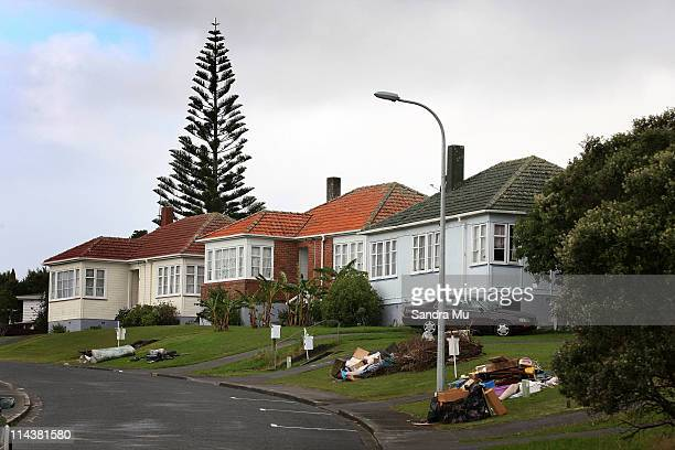 Inorganic rubbish is seen outside state housing which accommodates lower social economic residents in Mt Roskill on May 19 2011 in Auckland New...