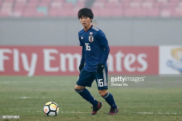 Inoue Shion of Japan in action during AFC U23 Championship Quarterfinal between Japan and Uzbekistan at Jiangyin Sports Center on January 19 2018 in...
