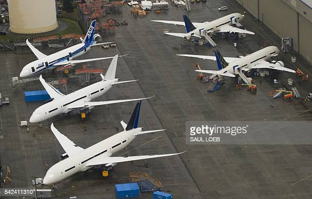 Inproduction Boeing 787 Dreamliner aircraft sit on the tarmac at the Boeing production facilities and factory at Paine Field in Everett Washington...