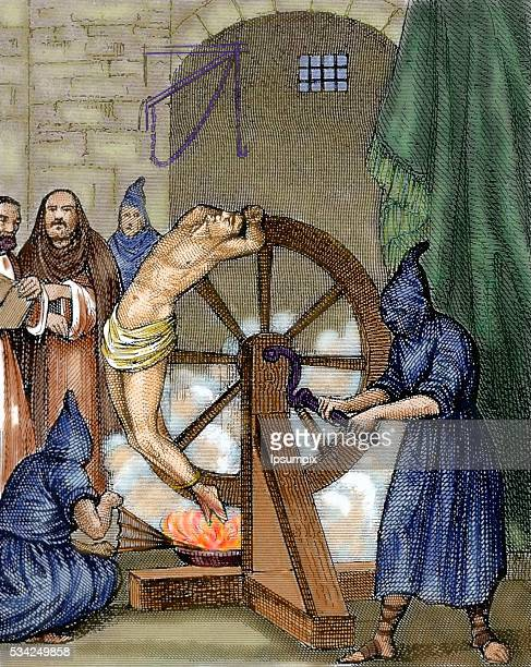 Inquisition Instrument of torture Wheel of Fortune Colored engraving