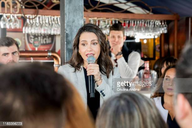 Inés Arrimadas, the spokeswoman of Ciudadanos in the Congress of Deputies, attends a meeting in A Coruña, on October 25, 2019 in A Coruna, Spain.