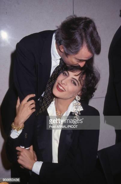 Inès de La Fressange et son mari Luigi d?Urso à la soirée anniversaire pour les 30 ans de carrière de Yves Saint-Laurent à l'Opéra Bastille le 3...