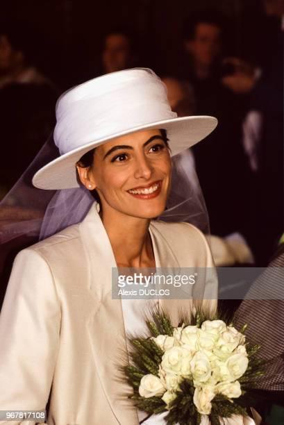 Inès de La Fressange le jour de son mariage avec Luigi d'Urso à Tarascon le 19 juin 1990 France