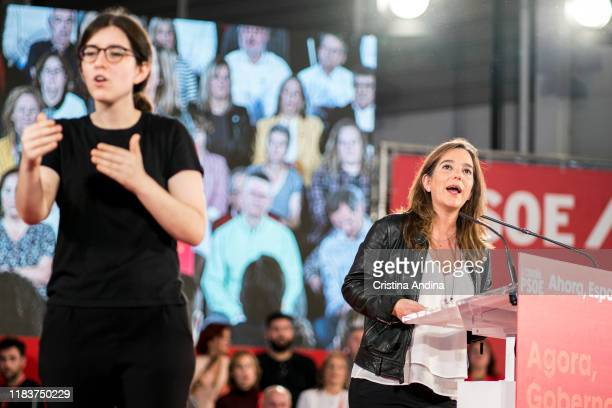 Inés García Rey mayor of A Coruña attends a Spanish Socialist Workers' Party meeting on October 27 2019 in A Coruna Spain
