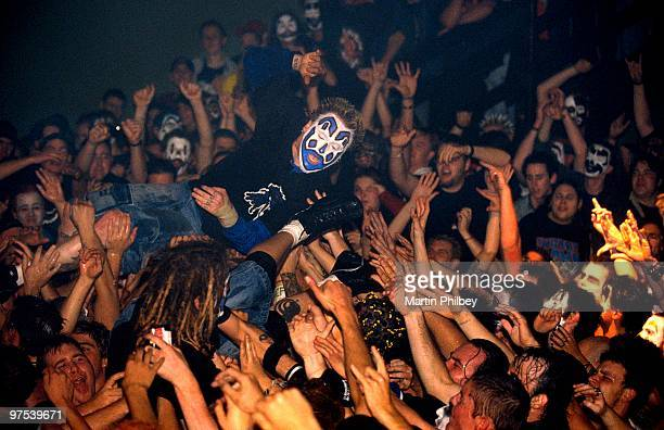 Insane Clown Posse perform on stage crowd usrfing over audience at the Hi Fi Bar on 17th May 2003 in Melbourne Australia
