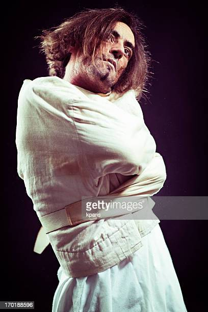 insane person in straitjacket - straight jacket stock pictures, royalty-free photos & images