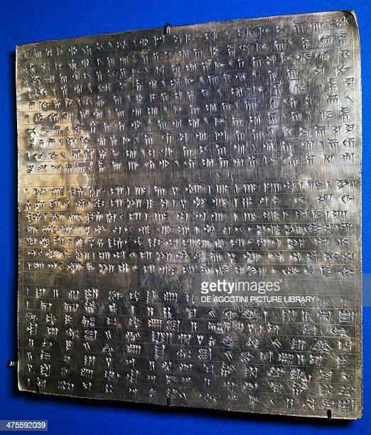 Inscribed gold plaque of Emperor Darius I in cuneiform writing Persian civilisation 6th century BC Teheran MuzeIe IranE Bastan