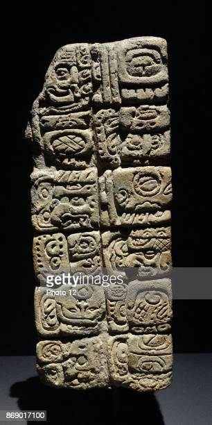 Inscribed ornamental Mayan brick from Comalcalco Tabasco Mexico 652 AD The inscription relates to the god Ahkal Te' Chaahk commemorates a gift to god...