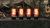 inscription 2025 burns on old television lamps