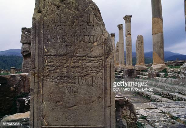 Inscription ancient Roman city of Djemila Algeria