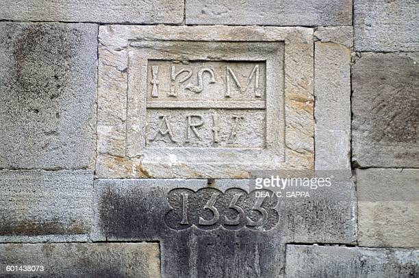 Inscription bearing the date 1555 the year in which the castle was modified Chateau d'Etchauz SaintEtiennedeBaigorry France Aquitaine 11th16th century