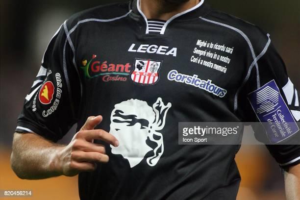 Inscription corse sur le maillot d'Ajaccio Troyes / Ajaccio 10eme journee de Ligue