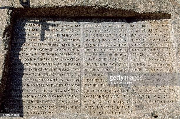 Inscription of Darius I and Xerxes in three languages, ancient Persian, Elamite and Babylonian, in Ganjnameh, near Hamedan, Iran. Achaemenid...