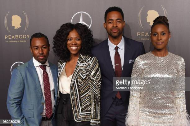 Insecure Writer and Producer Prentice Penny Actors Yvonne Orji Jay Ellis and Issa Rae attend The 77th Annual Peabody Awards Ceremony at Cipriani Wall...
