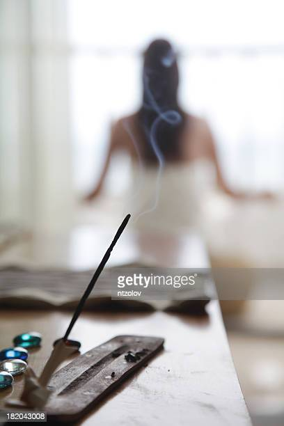insense and yoga - incense stock photos and pictures