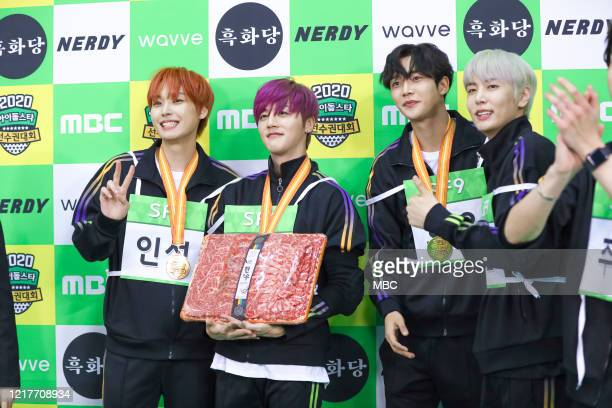 Inseong, Youngbin, Rowoon, Jaeyoon of SF9 attend MBC Idol Athletics Championship 2020 at Goyang Stadium on January 25, 2020 in Goyang, South Korea.