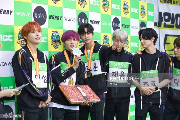 Inseong, Youngbin, Rowoon, Jaeyoon, Zuho of SF9 attend MBC Idol Athletics Championship 2020 at Goyang Stadium on January 25, 2020 in Goyang, South...