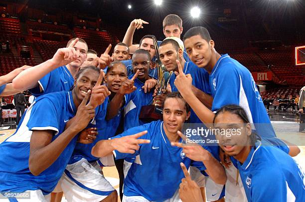 Insep players celebrate after the Nike International Junior Tournament Final Game between Insep vs FMP Belgrade at Bercy Arena on May 8, 2010 in...
