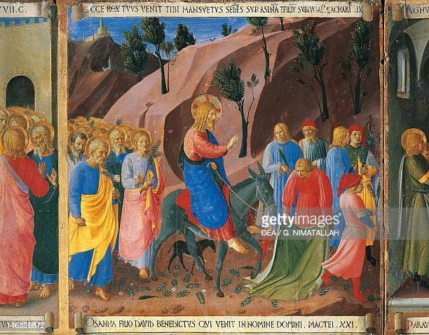 Inset depicting the entrance into Jerusalem panel from the Armadio degli Argenti with the life of Jesus 14511453 by Giovanni da Fiesole known as Fra...