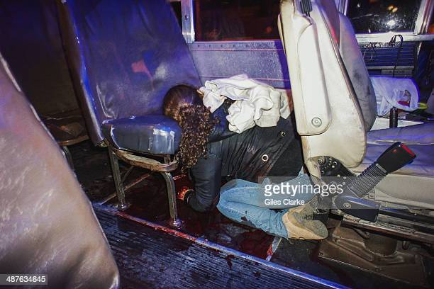Inside a bus on the highway a 25year old woman girlfriend lies dead after she and her husband the bus driver were shot by an unknown assailant...