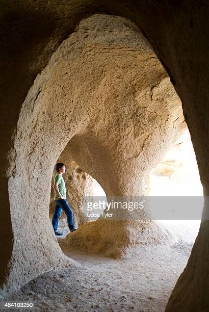 Inside a cave fortress near Ihlara in the Cappadocia region of Turkey The landscape in Cappadocia was formed from compacted volcanic ash called...