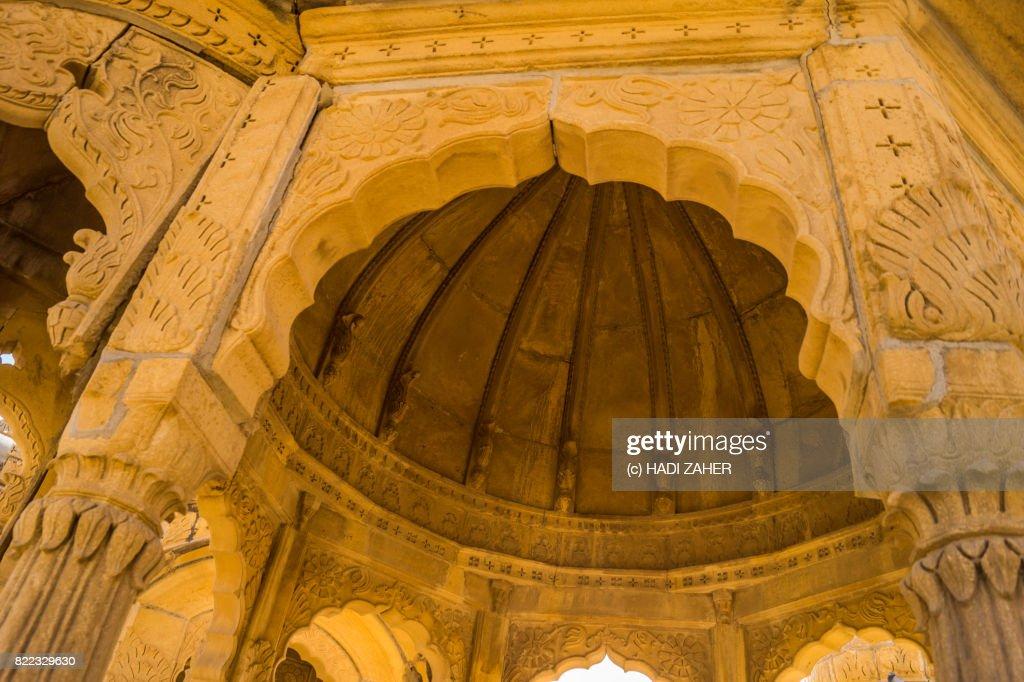 Inside a cenotaph | Bada Bagh Royal Cenotaphs | Jaisalmer | Rajasthan | India : Stock Photo