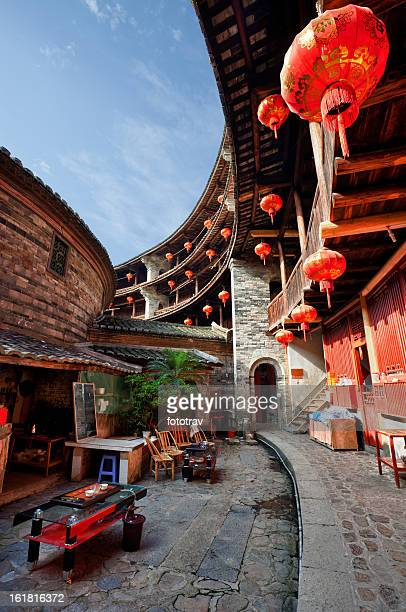 inside a hakka tulou - fujian tulou stock pictures, royalty-free photos & images