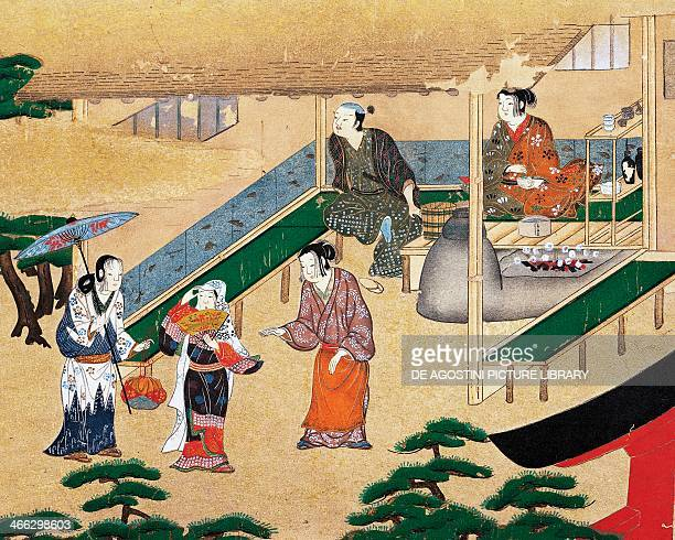 Inside a house in the outskirts of Kyoto ukiyoe silk painting school of Tosa Japanese civilization 15th16th century