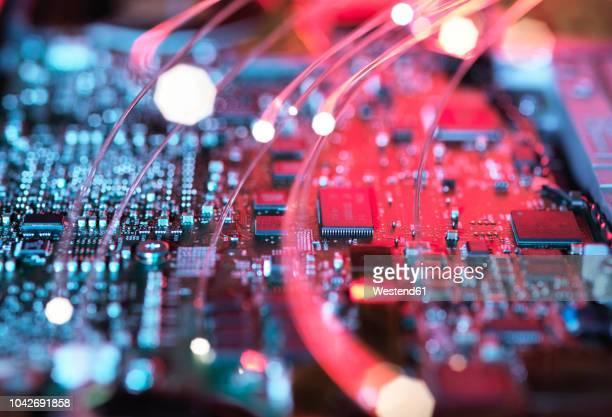 inside a laptop computer, mother board and electronic components - computeronderdeel stockfoto's en -beelden