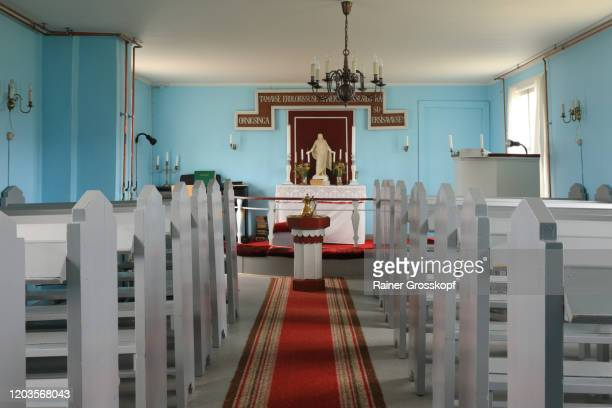 inside a little wooden church in a nordic country - rainer grosskopf stock pictures, royalty-free photos & images